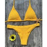 Women's Swimwear Summer Classic String Bikini Two-piece Suit Sunflower Natural Design Bra And Panty Set Solid Lingerie Biquini Brasileiro