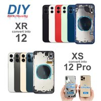 DIY Muhafaza iPhone XR Dönüştürdü x XS için 12 11 Pro Max Geri Cam Orta Çerçeve Şasi Pil Arka Kapak Tam Konut Meclisi