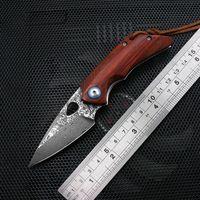 Mini Damasco ad alta durezza coltello pieghevole coltello rosso ramo acido rosso manico in legno EDC all'aperto taglierina avventura coltello da caccia