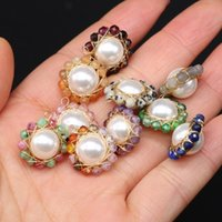 Charms Handmade Natural Stone Shell Beads Pendant Sun Flower 2pcs 16-18mm For DIY Fashion Jewelry Necklaces Making Accessories