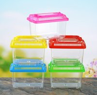 Little Pet Rabbit House Mini Clear Hamster Cage Cute Transparent Plastic Goldfish Turtle Bowl With Portable Handle Many Colors BWA5530