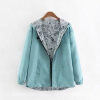 Women's Jackets Jaqueta bsica feminina com capuz, zper, desenho animado, roupa para reas externas, primavera, outono, WZEH