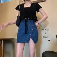 6KSexy Denim Skirts Womens Asymmetrical Pencil Jean Ladies High Split Mini Skirt Female Jupe Falda Fashion 2021
