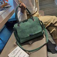 Matte Women Handbag Scrub Female Shoulder Bags Large Capacity Matcha Green PU Leather Lady Boston Bag for Travel Hand 210907
