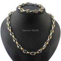 Pendientes Collar 2 Tonos Oro Collarbone Cadena Pulsera Set de Jewlery de alta calidad para hombres 9.5mm
