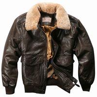 Chaquetas de vuelo genuinas Piel Alto Cuello Real Cuero Abrigos de cuero para Hombres Black Brown Sheepskin Capa Invierno Bomber Chaqueta Macho