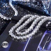 Alliceonyou 925 الفضة الاسترليني جودة عالية مثلج خارج زركونيا 3-6 ملليمتر تنس سلسلة قلادة الهيب هوب مجوهرات هدية أنيقة 210323