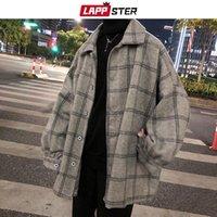 Men's Wool & Blends LAPPSTER Men Korean Style Plaid Overcoat 2021 Mens Streetwear Windbreaker Harajuku Fashions Oversize Jackets Coats