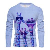 Men's T-Shirts Giraffe Long T Shirt 3D Print Sleeve Animal Graphic Tees Pattern Tops Men Women Colorful Tee Funny Top