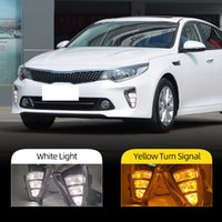 2PCS Car LED DRL Daytime running light Fog Lamp For Kia K5 Optima 2016 2017 With yellow turn signal Day light foglights