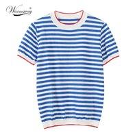WarmSway fina de malha camiseta mulheres roupas verão mulher manga longa tees tops listrado t-shirt casual feminino B-019 210324
