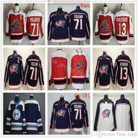 2021 Reverse Retro Columbus Blue Jackets Hockey 71 Nick Foligno 13 Cam Atkinson 빈 유니폼 블루 레드 백인 남성 여성 청소년 어린이