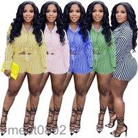 2021 2 adet Kadın Giyim Gömlek + Şort Çizgili Eşofman Rahat İlkbahar Yaz Güz Takım Elbise Uzun Kollu Bluzlar Ince Ofis Kıyafet Seksi Streetwear Vintage Jogger Takım Elbise