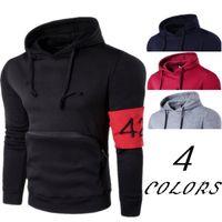424 embroidry 망 캐주얼 후드 남자 디자이너 솔리드 컬러 후드 스웨터 간단한 패치 워크 힙합 높은 거리 풀오버