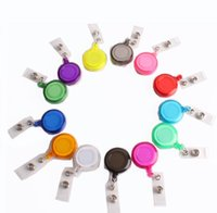 مكتب الملحقات 14 ألوان معرف حامل اسم بطاقة بطاقة مفتاح بكرات جولة الصلبة البلاستيك كليب على سحب سحب بكرة بالجملة اللوازم المكتبية SN4148