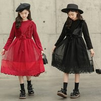 Old kids embroidery christmas party dresses girls faux fur waistcoat fake two piece lace tulle dress children velvet thicken warm princess clothes Q2771