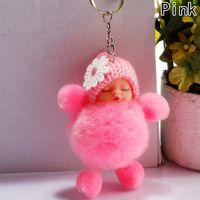 New Key Keychain Baby Holder Car Plush Charm Women Accessories Sleeping Keyring Ball Cute Doll Bag Pendant Fur Chain Mujpj