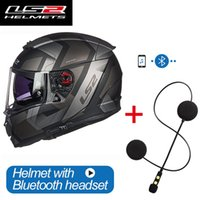 Cascos de la motocicleta Original LS2 FF390 Casco de Bluetooth de cara completa con doble lente Racing Cascos Para Moto Hombre Mujer Capacete Dot