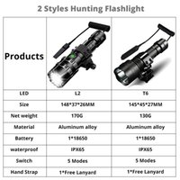 2000 lumens Tactical Flashlight USB Rechargeable L2 Torch Waterproof Hunting Light with Clip Hunting Shooting Gun Accessories