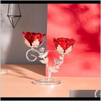 Holders Décor & Garden Drop Delivery 2021 Personality Red Double Rose Crystal Candle Light Candlestick Holder Centerpiece Wedding Home Decor