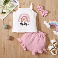 Clothing Sets 0-24 Months 3pcs Toddler Summer Outfits Rainbow Strappy Tank Tops + Solid Color Frilly Pantie Hairband For Baby Girls