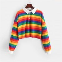 QRWR Polo Shirt Women Sweatshirt Long Sleeve Rainbow Color Ladies Hoodies With Button Striped Korean Style Sweatshirt Women 211023