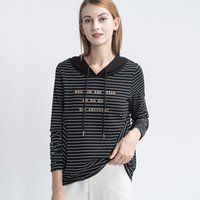 Striped T-shirt Long Sleeve Hooded Cotton Bodice 2021 New Loose Hat Spring Sweater Fashion A26
