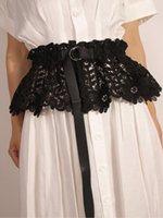 Kemerler 2021 Dantel Pileli Etek Eğilim Siyah Kendinden Kravat Peplum Geniş Zarif Korse Kadınlar Katı Tatlı Mini Kemer