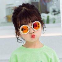 수제 진주 라운드 아이들 선글라스 빈티지 소년 소녀 금속 프레임 태양 안경 UV400 귀여운 아기 안경 Gafas de sol