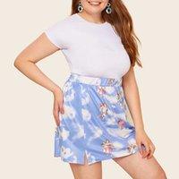 Big Dame Mini ROK Plus Size Borracha De Borracha Custiça Espartilho Rok Azul e Branco Anjo Bebê Nuvens Impresso Mulheres ROK 6XL 5XL D30