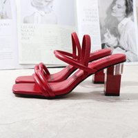 Dress Shoes Roman Sandals Gladiator Square Head Thick Middle 7CM Heel 2021 Summer Autumn Fashion Comfortable Wearing Outside Women