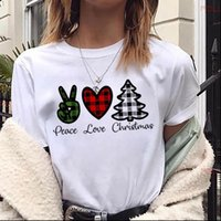 Peace Love Christmas Fashion Womens T Shirts Harajuku Short Sleeve Suitable Seasons White Tops