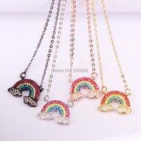 Pendentif Colliers 6pcs ZYZ-N2763 Cloud Rainbow Charm Pave Multi couleurs CZ Zircon, 2 boucles Connecteur Collier de cou de cou