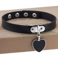 Fashion Black Heart Choker Necklaces For Women Trendy Goth Punk Pu Leather Collar Accessories Gothic Festival Jewelry Chokers