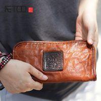 Wallets AETOO Men And Women Couple Retro Handmade Cowhide Leather Long Wallet Old Vintage Handbag