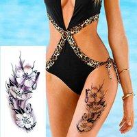 1 pièce Nouveaux faux autocollants temporaires 28 styles fleurs violettes Tatouage rose pour bras imperméable grande femme sur la jambe du corps