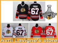 Chicago Blackhawks # 67 Michael Frolik Vermelho Branco Preto Gelo Hóquei Jersey 2013 Stanley Cup Champions Patch Personalizado Seu Número de Nome