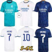S-4XL Tamanho Real Madrid Jerseys 21 22 Soccer Home Away 3th Futebol Camisas Alaba Hazard Benzema Asensio Modric Marcelo Camiseta Men Kit 2021 2022 Uniformes