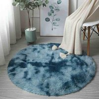 Carpets Rainbow Colorful Soft Fluffy Carpet Girl Round Hairy Rug Bedroom Living Room Decoration Furry Bedside Cushion Home