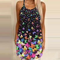 Womens Summer Sexy Sleeveless Backless Dress Aesthetic 3D Print Hollow Halter Mini Lady Girl Light Dresses 2021 A40 Casual