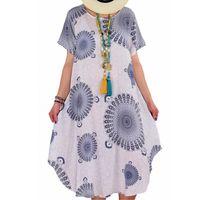 Summer Boho Print Loose Casual Mid Long Dress Short Sleeve Women Ethnic Sundress Plus Size 5xl Beach Dresses Vestido Verano