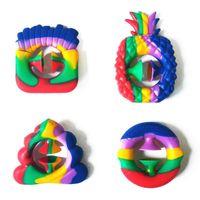 Rainbow Tie Dye Grip snapperz Fidget Toy Hand Grab Snap Tiktok toys Nipper Silicone sucker Game Sensory Autism Anxiety Reliever Pineapple Ice-cream shape