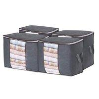 4 adet Set 90L Katlanır Yorgan Olmayan Dokunmamış Giyim Dolap Depolama Organizatör Yorgan Oyuncak Depoları Ev Çantası Nem geçirmez Toz Geçirmez Dolap Box Yatak Alt