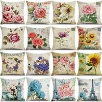 Новая старинная цветочная подушка на заказ льняная печать диван домашний офис украшения подушка крышка деловой подарок крышки наволочки 45 * 45см gwb10540