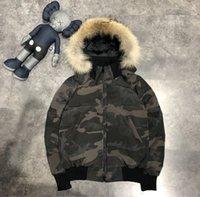 2021 CANADA-DOWN Jacket Hombre Mens Parka ropa exterior Lobo de piel con capucha Capucha de calidad superior HIVE Doudoune 90% pato blanco Down Mantener la capa caliente