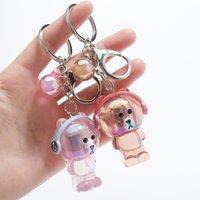 2021 Mode Keychain Kristall Acryl Musik Schlüsselanhänger mit Lichtern, niedlichen Kopfhörer, Bärbeutel Anhänger Aktivität Geschenk