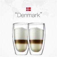 2 pcs 450ml bodum duplo-deck vácuo forma à prova de cerveja fria canecas Latte cappuccino copo de vidro café café da manhã copo 210827