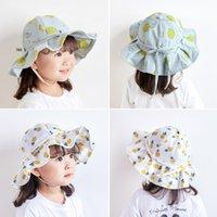 Sombrero de los niños de primavera Fruit Nudo Pescador La impresión al aire libre Bowknot Kids Girl
