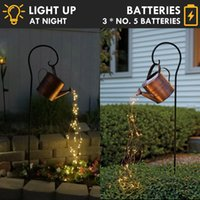 Light Battery Operated Waterproof LED Watering Can Decor Fairy String Garden Art Lights With Timer Outdoor Lawn Lamps