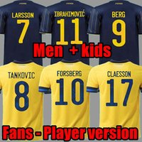 2021 스웨덴 축구 유니폼 팬 플레이어 버전 Forsberg Lindelof Guidetti Fooball Shirt Ibrahimovic Kallstrom National Maillot Man Kid Kit Uniform